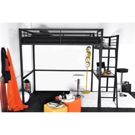 montage de bureau grafik lit mezzanine adulte avec sommier bureau contemporain en métal laqué époxy anthracite