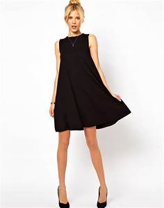 asos sleeveless swing dress in black lyst With robe trapeze noire
