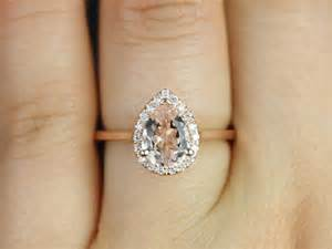 gold pear engagement rings pear halo engagement ring julie gold pear morganite and diamonds halo engagement