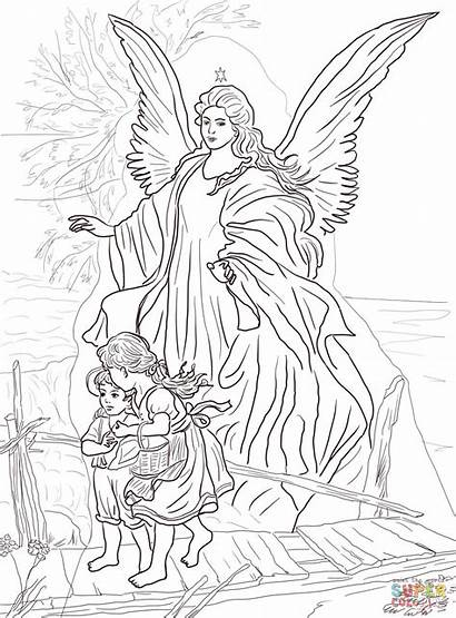 Angel Coloring Guardian Children Pages Protected Printable