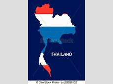Thailand map with flag inside, thailand map vector, map