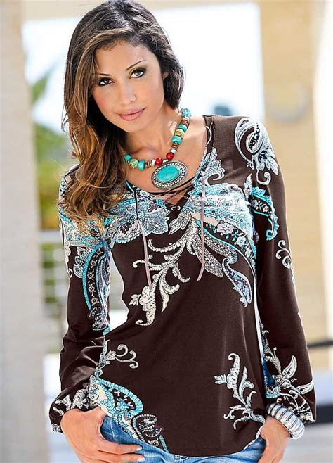 Long Tunic Tops Long Sleeve Lace Up Neck Tunic Tops