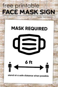 printable face mask required sign paper trail design