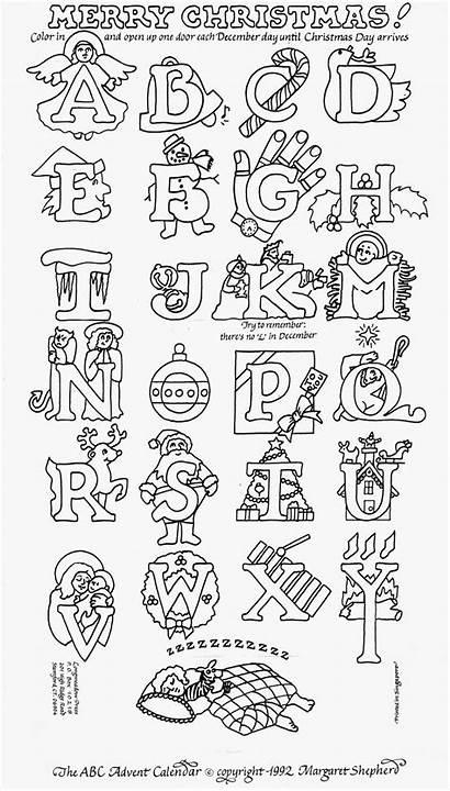 Coloring Christmas Countdown Abc Advent Alphabet Letters