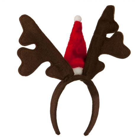 costume brown red santa antlers cap headband e4hats