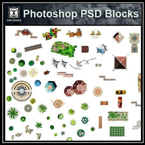 Hand painted PSD Landscape Blocks 4 ? CAD Design   Free