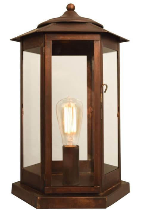 baja mission outdoor column light pier mount copper lantern