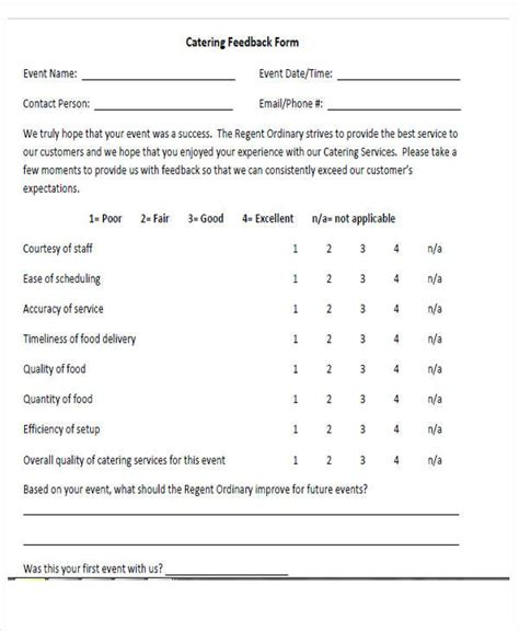 Catering Questionnaire Template by 54 Printable Survey Forms Sle Templates