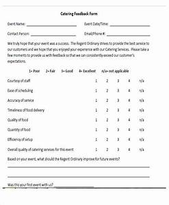 54 printable survey forms sample templates With catering questionnaire template