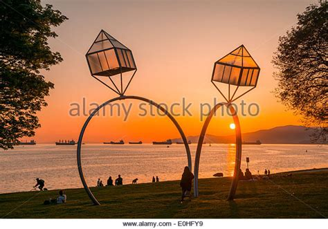 engagement ring sculpture at sunset bay vancouver stock and