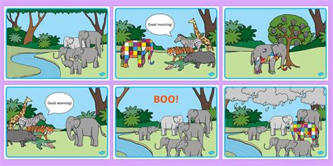 story sequencing to support teaching on elmer elmer 121 | T T 1396 Colourful Elephant Story Sequencing ver 1