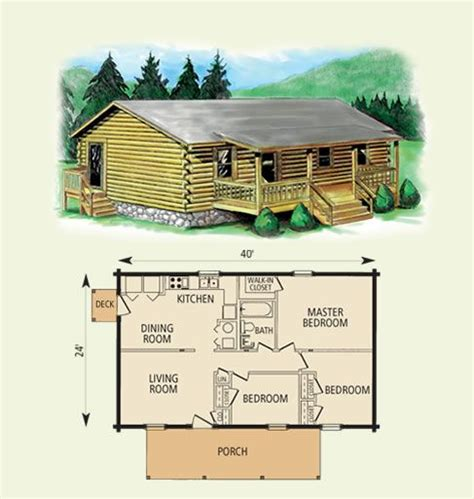 small log cabin  bed room single story afordable log