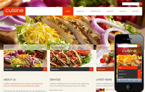 cuisine site cuisine a hotel mobile website template by w3layouts