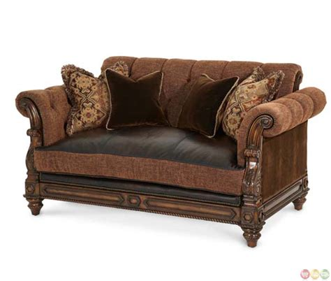Traditional Leather Loveseat by Michael Amini Vizcaya Leather And Fabric Traditional