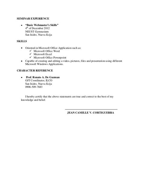 Character References Format Resume by Resume For Ojt