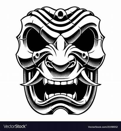 Samurai Mask Warrior Clipart Japanese Bw Version