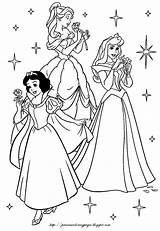 Coloring Disney Princesses Pages Princes Snow Aurora Princess Sleeping Beauty sketch template