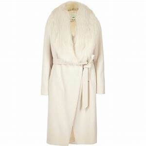 river island cream faux fur collar belted robe coat cream With robe river island