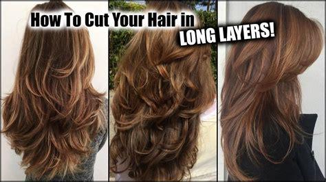 cut  hair  home  long layers long layered