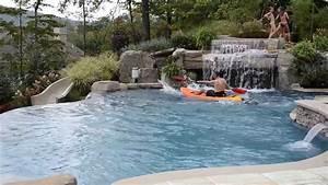 Fun Inground Swimming Pool Design with Slide & Kayaking