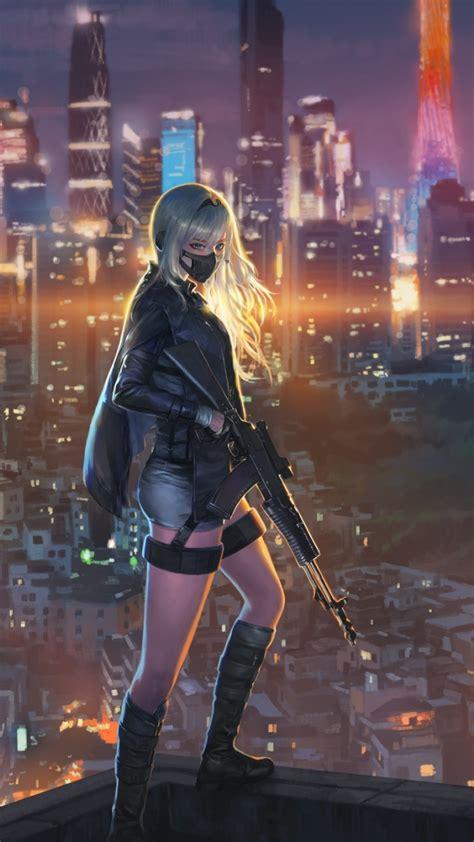 Download 720x1280 Wallpaper Sniper Girl Cityscape Anime