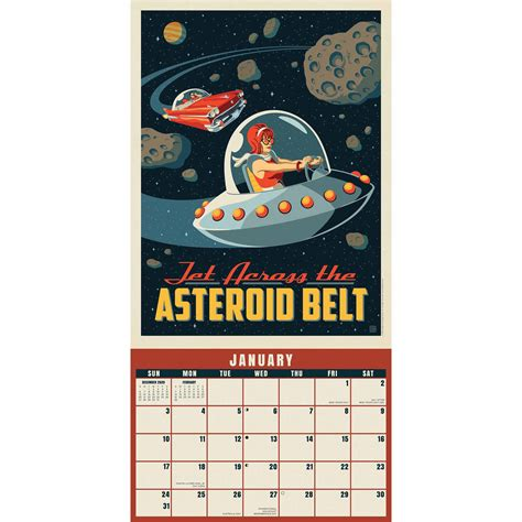 space travel classic illustrated posters calendar