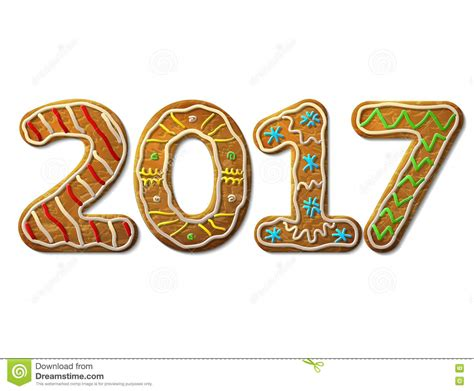 New Year 2017 In Shape Of Gingerbread Isolated On White Stock Vector  Image 76365960