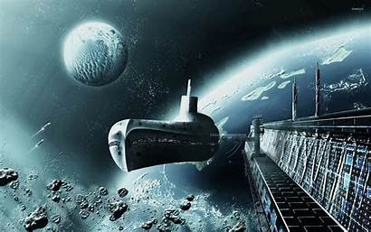 Space Station Planet Spaceship Wallpapers Fantasy Orbiting