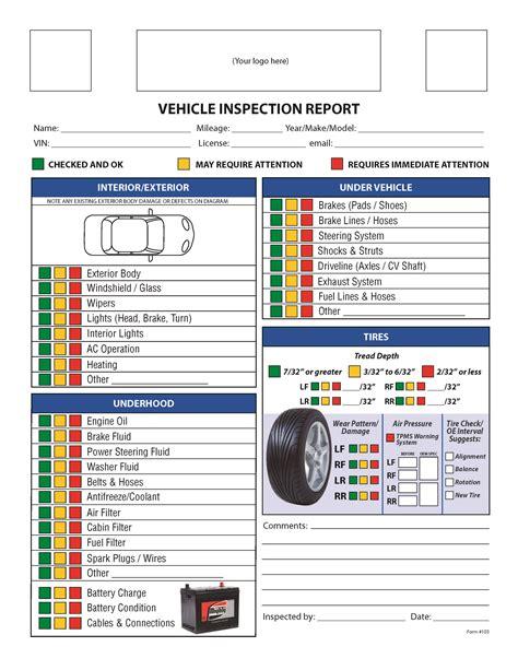 inspection checklist vehicle printable form printablee