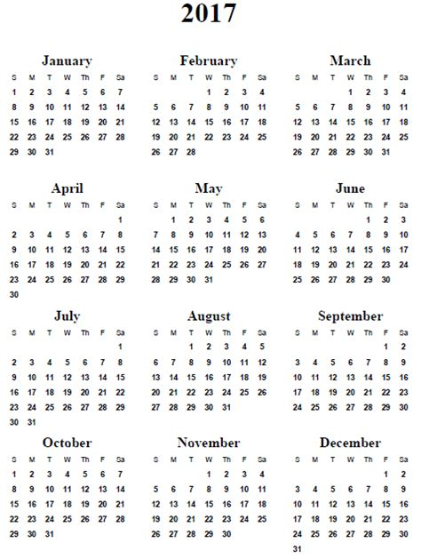 free printable 2017 calendar 7 best images of 2017 yearly calendar printable one page free