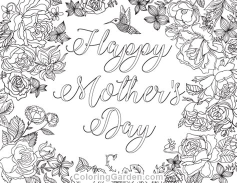 happy mothers day adult coloring page