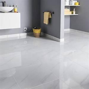 Salle De Bain Marbre Blanc : carrelage sol et mur blanc effet marbre samos x cm leroy merlin ~ Nature-et-papiers.com Idées de Décoration