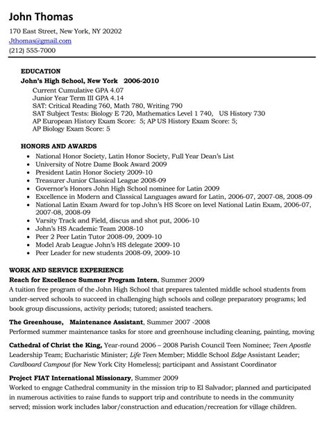 What A Resume Should Look Like by What Should A High School Resume For College Look Like