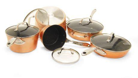 batterie de cuisine the rock starfrit the rock 10 copper finish cookware set