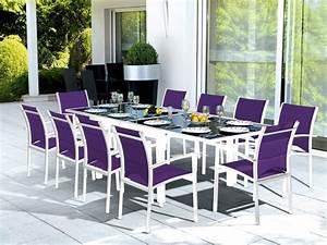 Salon De Jardin 10 Places : salon de jardin table modulo blanc parme 10 places meubles de jardin ~ Teatrodelosmanantiales.com Idées de Décoration