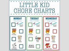 Little Kid Chore Charts Ages 24 Over The Big Moon