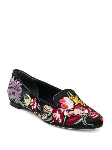 satin black flower mcqueen floral embroidered silk satin loafers in
