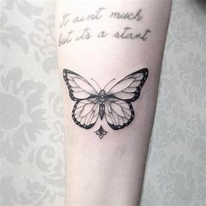 28 Beautiful Black and Grey Butterfly Tattoos - TattooBlend