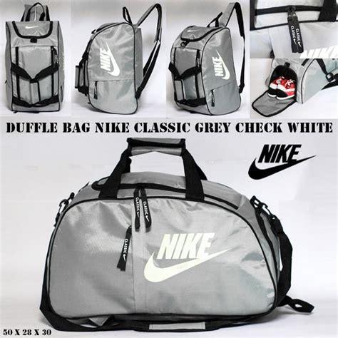 jual tas ransel travel nike duffle bag grey check white