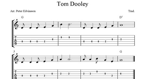 They are all downloadable for free in printable pdf. Tom Dooley, easy free guitar tablature sheet music for beginners