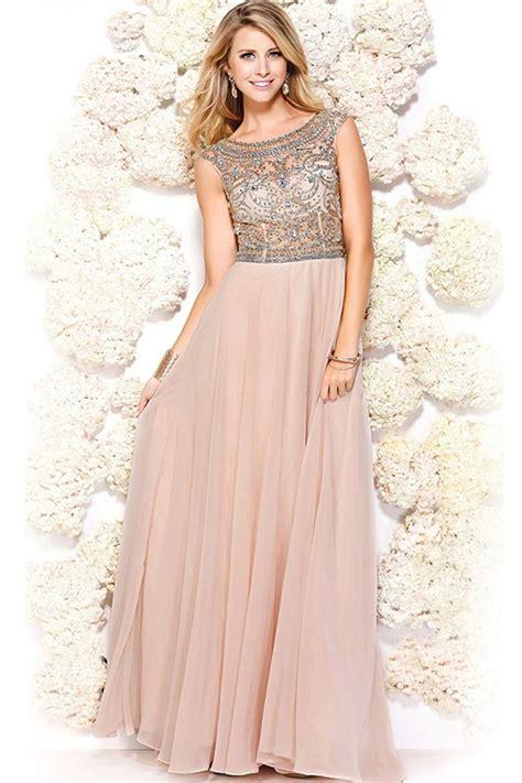Charming Pink Cap Sleeves Long Modest Chiffon Prom Dresses ...