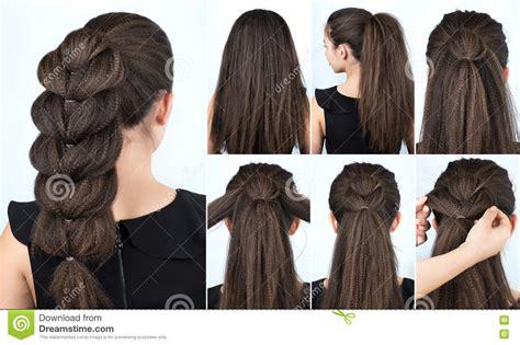 Braid Hairstyle Tutorial. Hair Tutorial Stock Photo