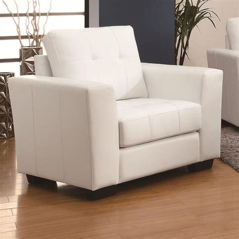 white leather sofa and chair coaster enright 503709 white leather chair a sofa furniture outlet los angeles ca