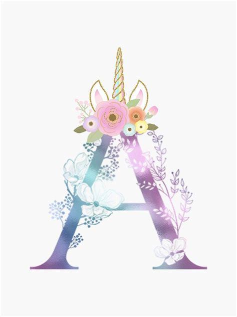 colorful unicorn horn flowers monogram letter  sticker sticker   graphic bros