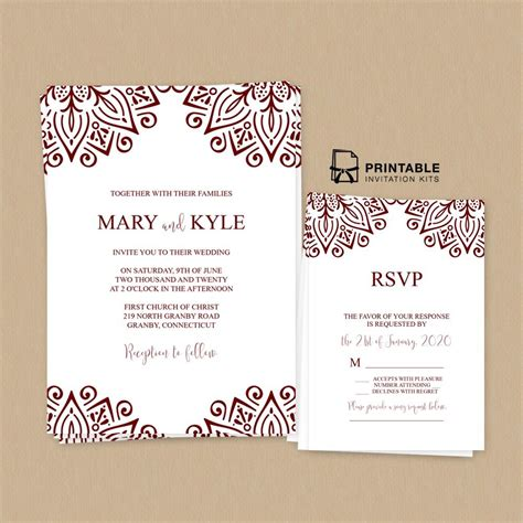 Ornamental Border Wedding Invitation and RSVP free to