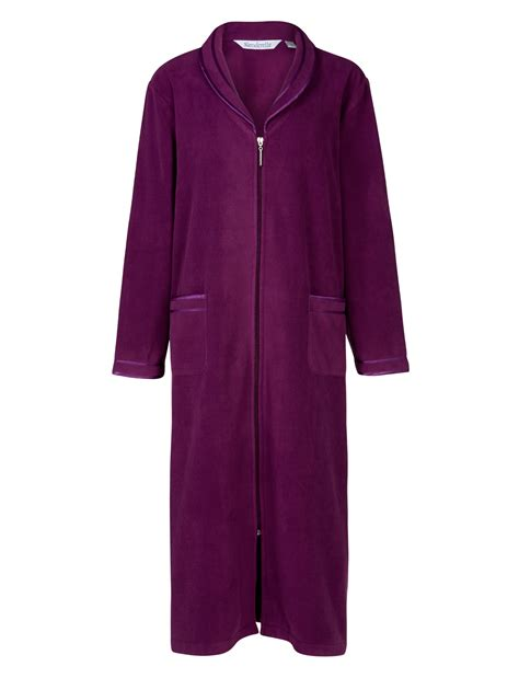 robe de chambre polaire fermeture eclair slenderella anti pill zip up dressing gown
