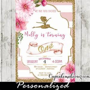Ballerina Invitations, Pink Stripes Floral Gold Ballet