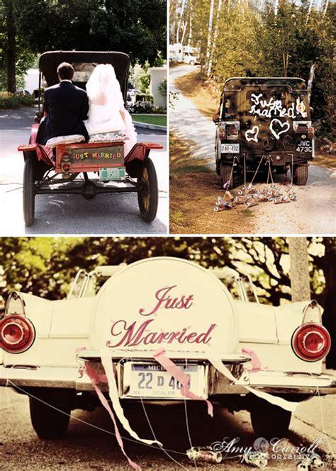 vintage wedding car decorated  flowers
