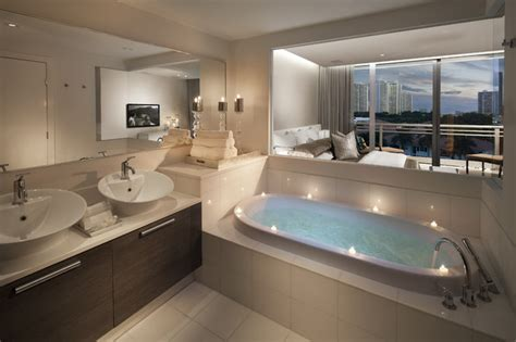 Master Bath With Glass Opening-contemporary-bathroom