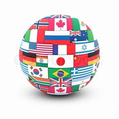 Globe Flags International Communication Concept Internationale Wereldbol
